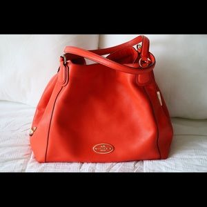 Coach Edie Coral Refined Pebble Leather Shoulder